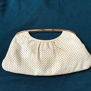 Express White Clutch w/Polished Silver Handles